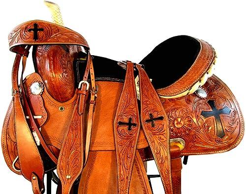Western Show Floral Cross Tooled Leather Horse Barrel Racing Saddle TACK Set