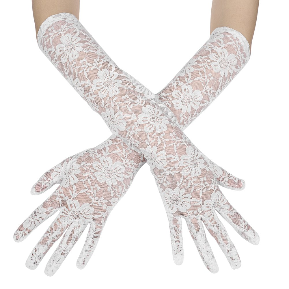 Women Bridal Lace Gloves Long Bride Wedding Gloves Elegant Banquet Pageant Party Gloves