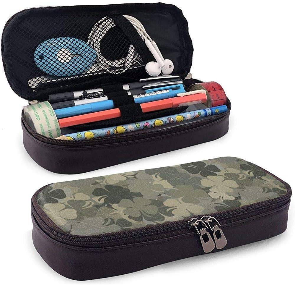 Trébol gris y patrones de trébol de cuatro hojas Estuche de lápices Estuche de lápices Estuche de maquillaje Estuche de organizador de caja Organizador de doble cremallera: Amazon.es: Oficina y papelería