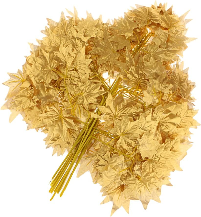 FAKEME 12pcs Artificial Cloth Maple Leaves Autumn Fall Leaf for Home Wedding Decor - Gold