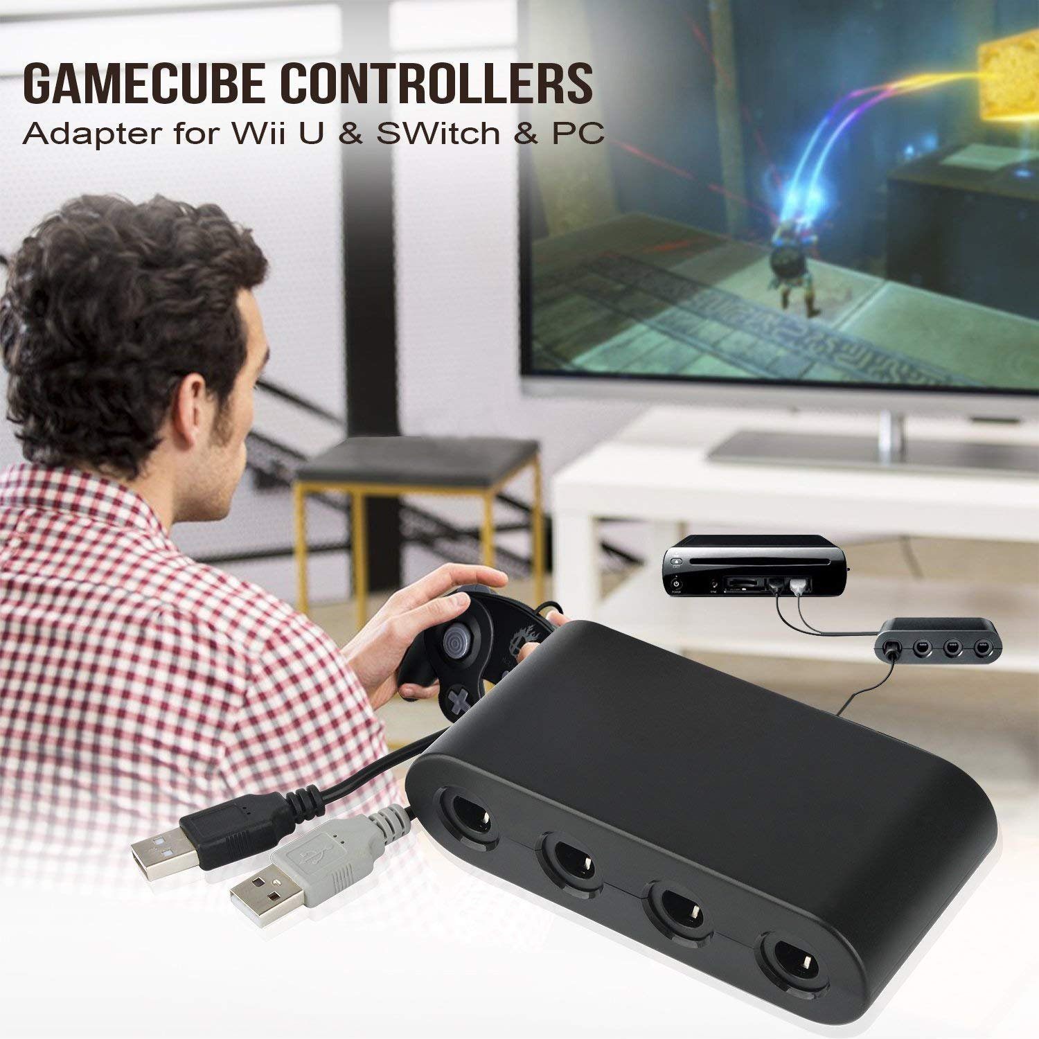 Gamecube Controller Adapter. Super Smash Bros Wii U Gamecube Adapter for Pc, Switch. No Driver Need and Easy to Use. 4 Port Black Gamecube Adapter(Improved Version) by Cloudream (Image #7)