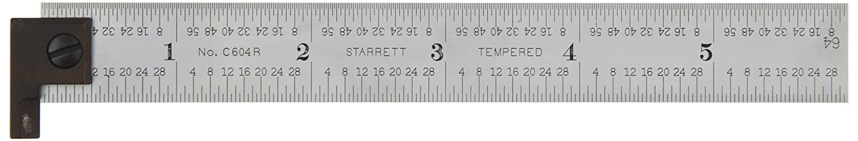 Starrett CH604R 6 6 2 Sided Steel Ruler with Hook