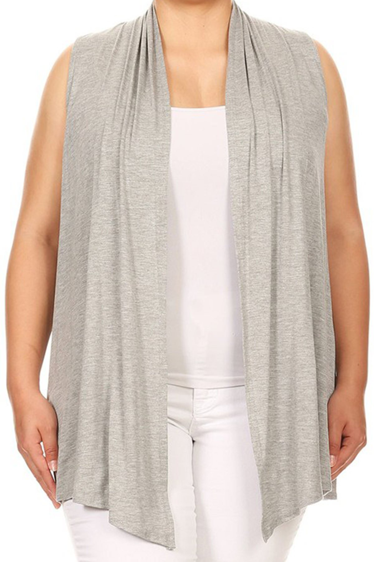 BNY Corner Women Plus Size Sleeveless Cardigan Open Front Casual Vest Cover up Heather Grey 2 X 622 SD