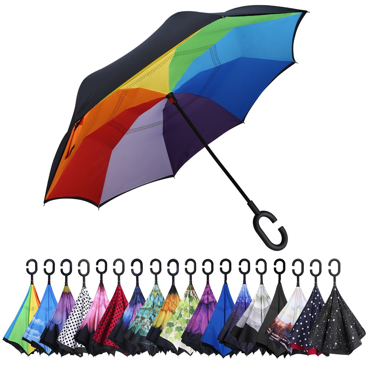 74647d1170c7a G4Free Double Layer Inverted Umbrella Cars Reverse Open Folding Umbrellas,  Windproof UV Protection Large Upside