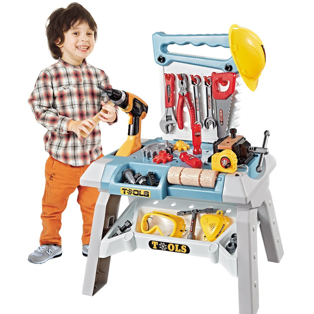 Young Choi's 101 Pcs Toy Power Workbench, Kids Power Tool Bench Construction Set with Tools Electric Drill and Toy Helmet, Toddlers Toy Shop Tools for Boys