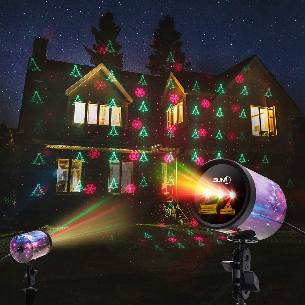 SUNY 3 Lens RGR Outdoor Laser Light, Christmas Theme Laser Projector IP65 Waterproof Automatic Timing Landscape Light Decor for Holiday Party Garden Yard Xmas Trees(Starry Shell) by SUNY