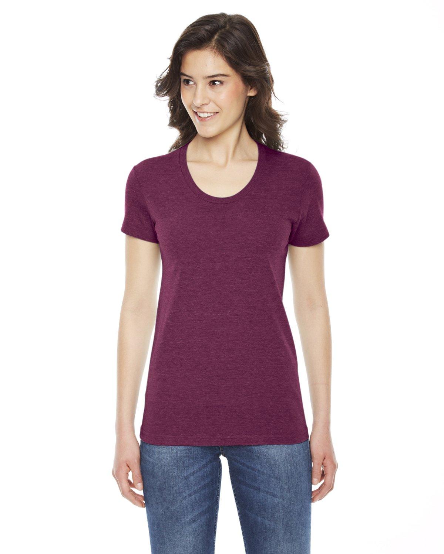 American Apparel TR301W Ladies' Triblend Short-Sleeve Track T-Shirt Tri Cranberry M