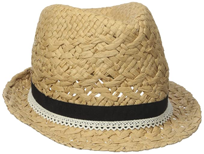 d81fa9eda33e4 D Y Women s Paper Braid Fedora Hat with Faux Leather Ties