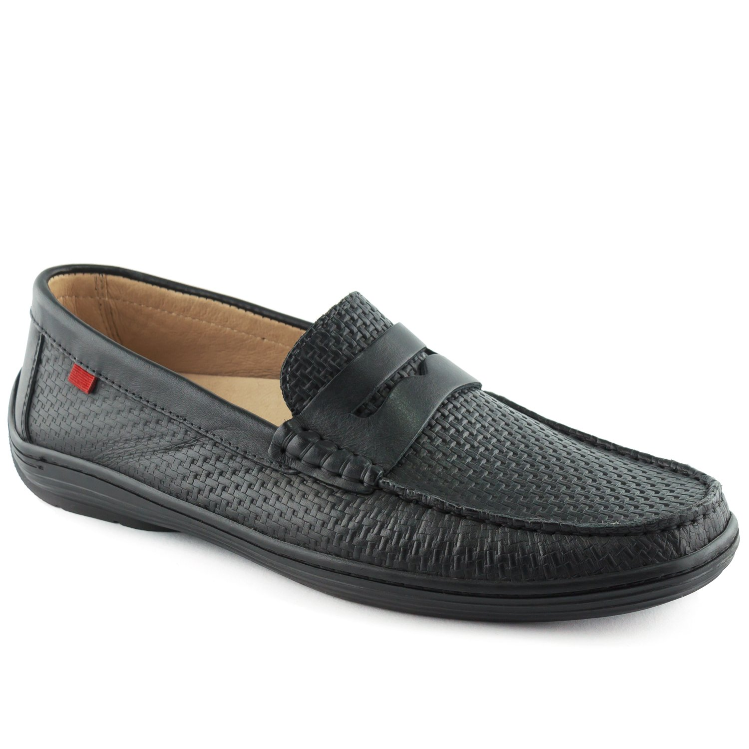 Black Basket Leather Marc Joseph New York Men's Mens Genuine Leather Atlantic Loafer Driving Style Loafers