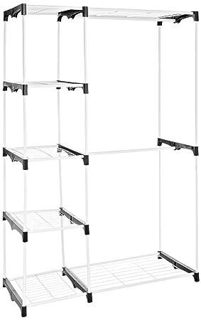 Amazon.com: AmazonBasics Double Rod Freestanding Closet   White: Home U0026  Kitchen