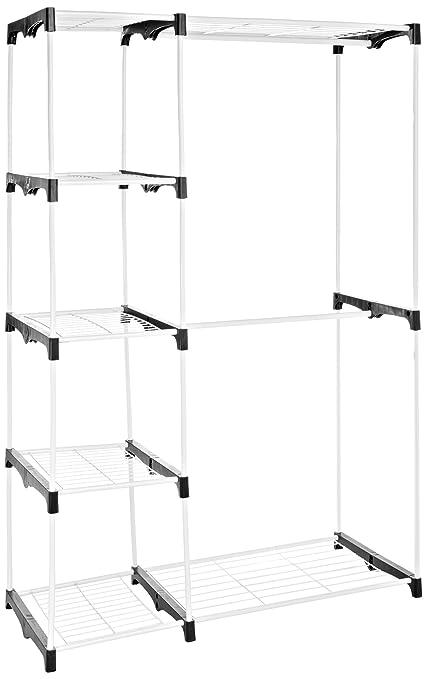 AmazonBasics - Armario móvil con doble barra, color blanco