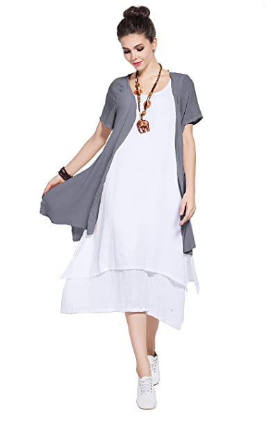 Anysize Soft Linen Cotton Two-Piece Dress Spring Summer Plus Size Dress Y96