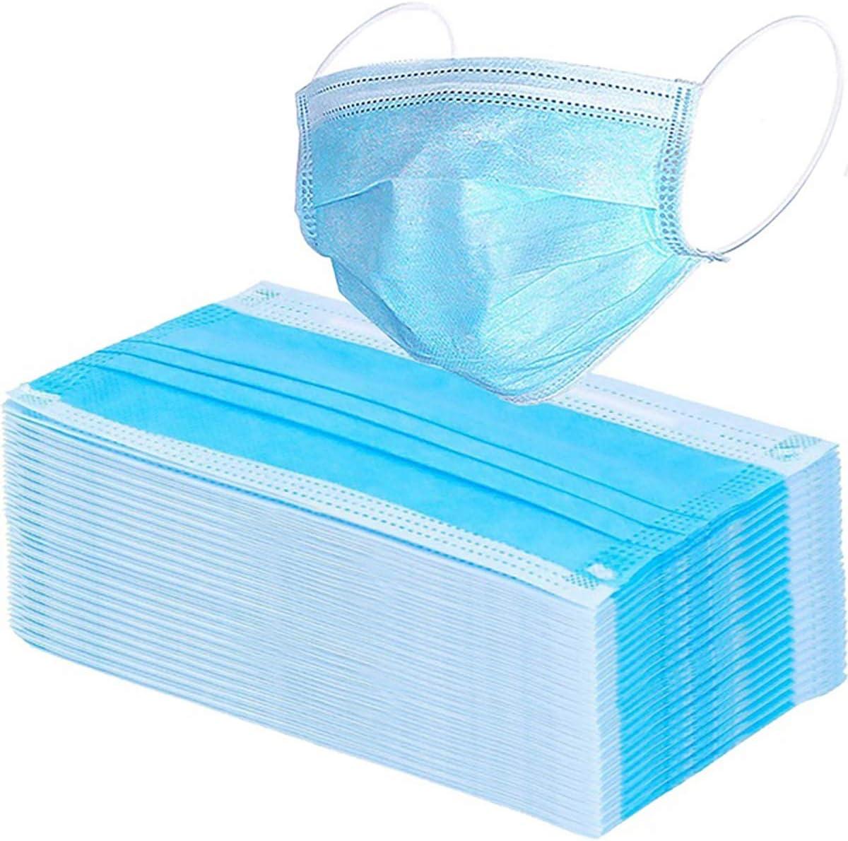 Oladwolf Protección contra el Polvo desechable de 3 Capas, protección contra infecciones con Trabillas para los oídos, Protege de la Suciedad (Azul, 50 Unidades).