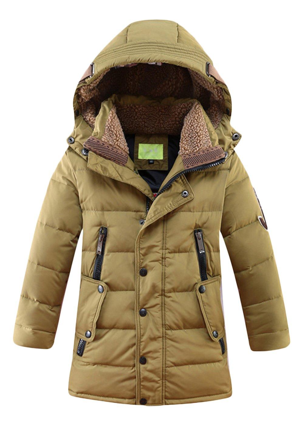 OUO Daunenjacke f/ür Kinder k/älteschutz Lange Jacke mit abnehmbar Kapuze