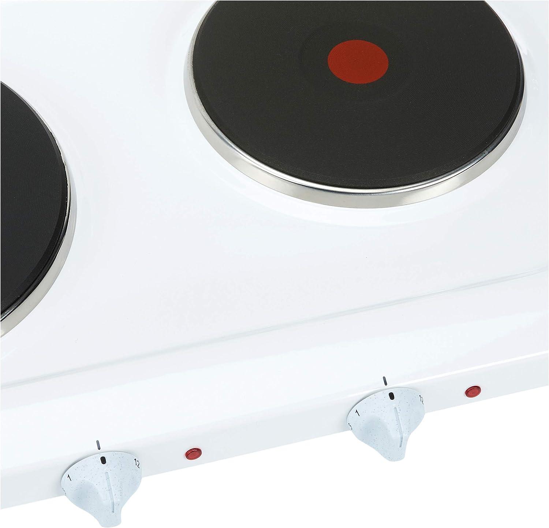 Rommelsbacher THL 3097/A - Fogón eléctrico doble con tapa, esmaltado, color blanco