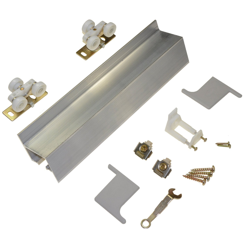 Johnson Hardware 2610 Wall Mount Barn Door Type Sliding Door Hardware 96'',Mill Aluminum