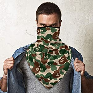 Bape Camo Green Sports Face Guards,Windproof Face Mask,Protection Mouth Mask,Magic Scarf