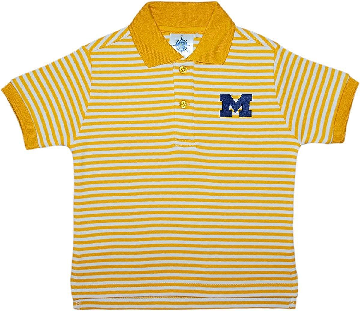 University of Michigan Wolverines Striped Polo Shirt