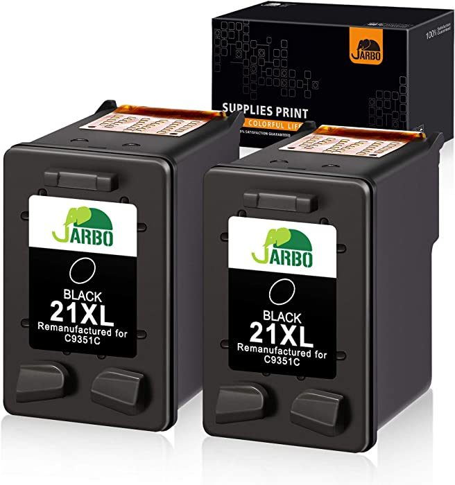 JARBO Remanufactured for HP 21 21 XL Ink Cartridge, 2 Black, Used with HP Officejet 4315 J3680 Deskjet 3915 3930 3940 D1341 D1420 D1455 D1520 D1530 D1560 D2330 D2430 D2460 PSC 1410