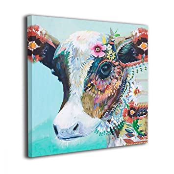 Mout Art Colorful Animal Cow Painted Framed Oil Paintings Printed On Canvas Wall For Office Home Decor Pictures Modern Artwork Hanging For Living Room