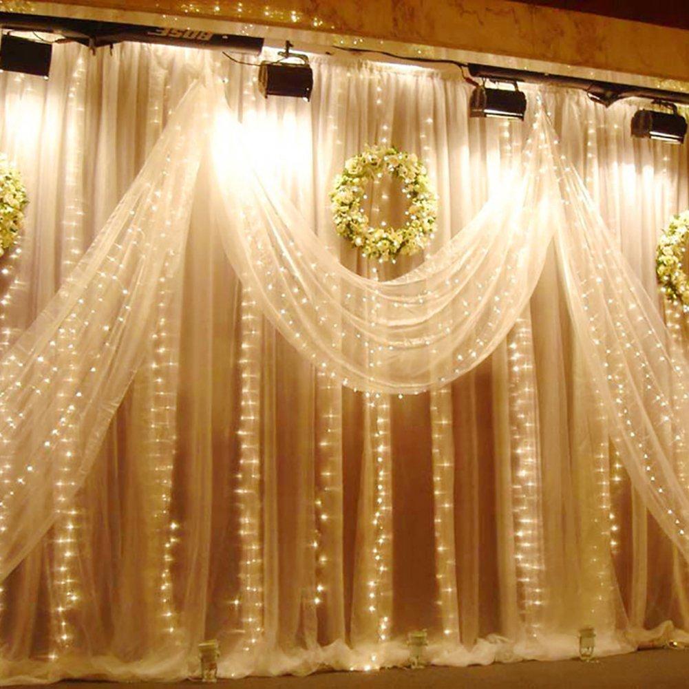 Weihnachtsdeko Fenster LED Vorhang Wand Eiszapfen Lichterkette 300 ...