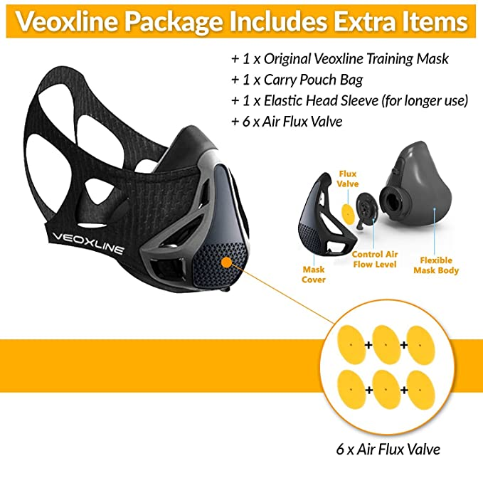 Amazon.com : VEOXLINE Training Mask | Sport Workout for Running Biking Fitness Jogging Cardio Endurance Exercise Breathing with Air Flow Level Regulator for ...