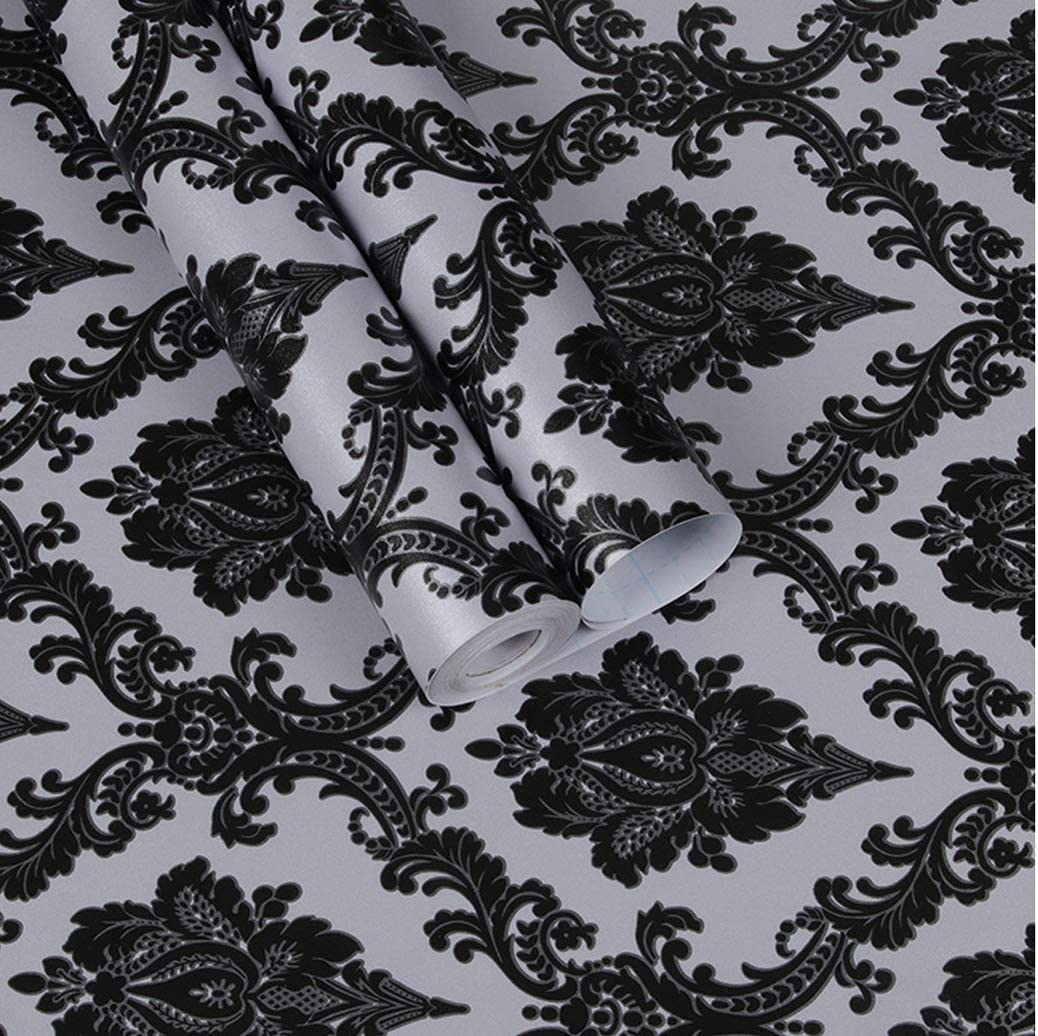 Black Damask Contact Paper Self Adhesive Shelf Liner Cabinets Drawer Wall Sticker Peel and Stick Wallpaper for Bathroom Bedroom 17.7
