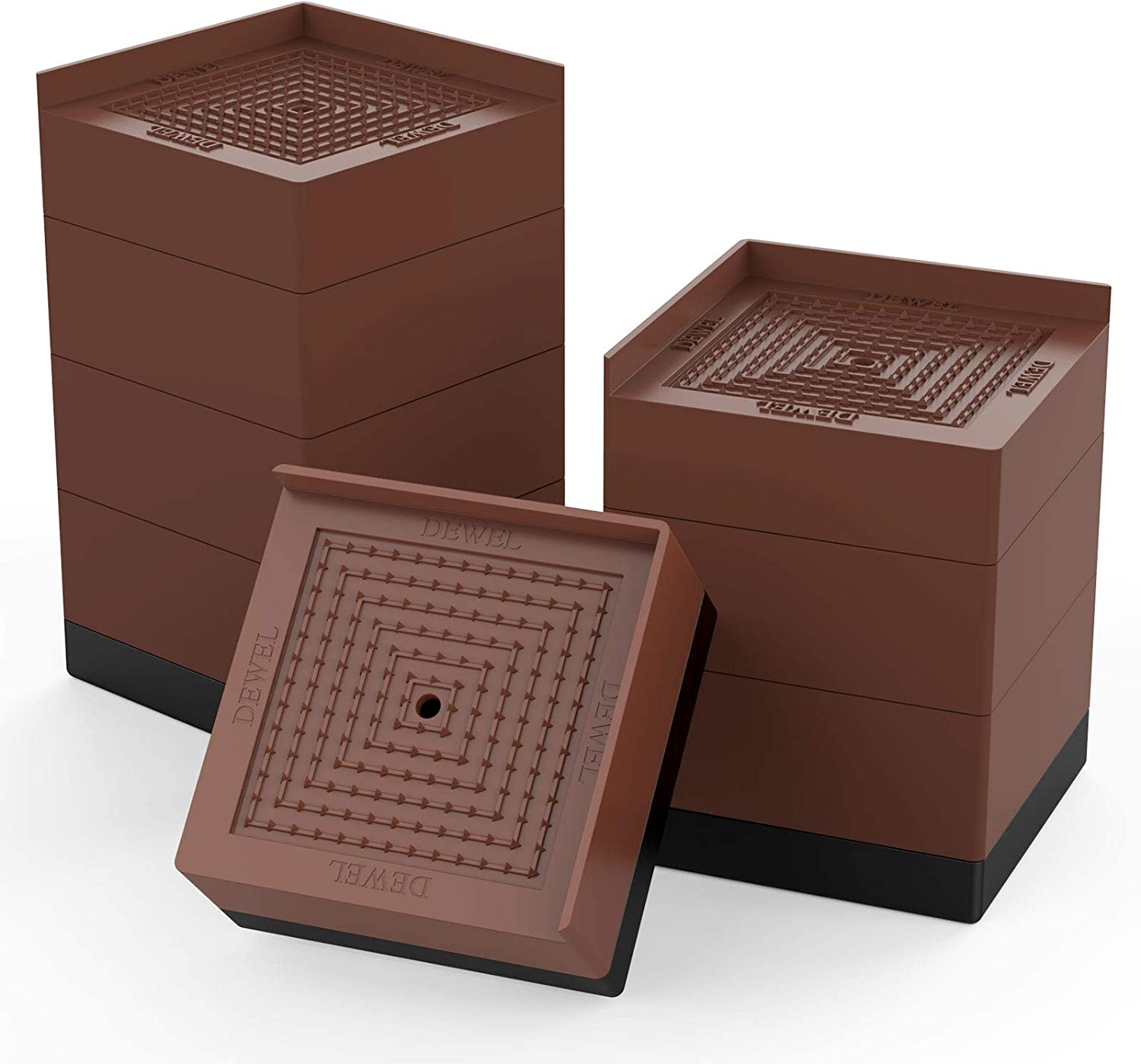 Bed Risers Heavy Duty Square Adjustable Furniture Risers Stackable Height of 1.9