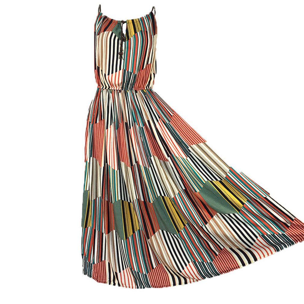 Printed Strap Bohemia Beach Round Neck Sleeveless A-Line Dresses Ankle-Length Striped One Size