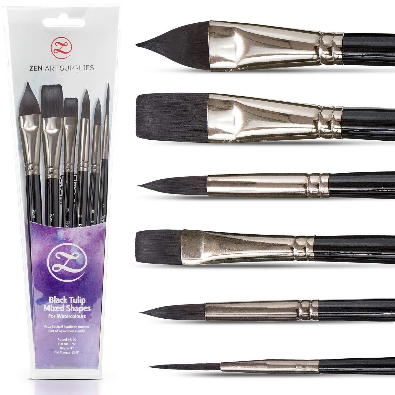Watercolor Paint Brushes – Smart 6 pc Black Tulip Short-Handle Watercolor Travel-Set for Consistent Flow – Gouache, Watercolors, Fluid Acrylics, Inks - Synthetic Squirrel Hair, Vegan, by ZenART