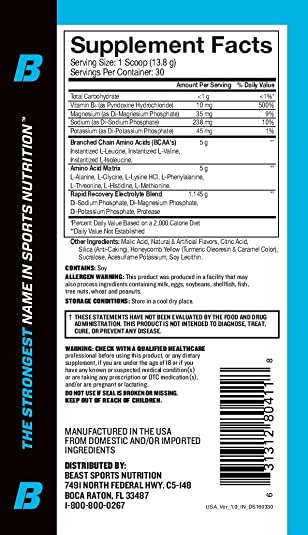Beast Sports Nutrition Aminolytes Amino Acid Powder Essential Amino Acid Supplement Accelerate Muscle Recovery Replenishes Electrolytes Pineapple Flavor 30 Servings