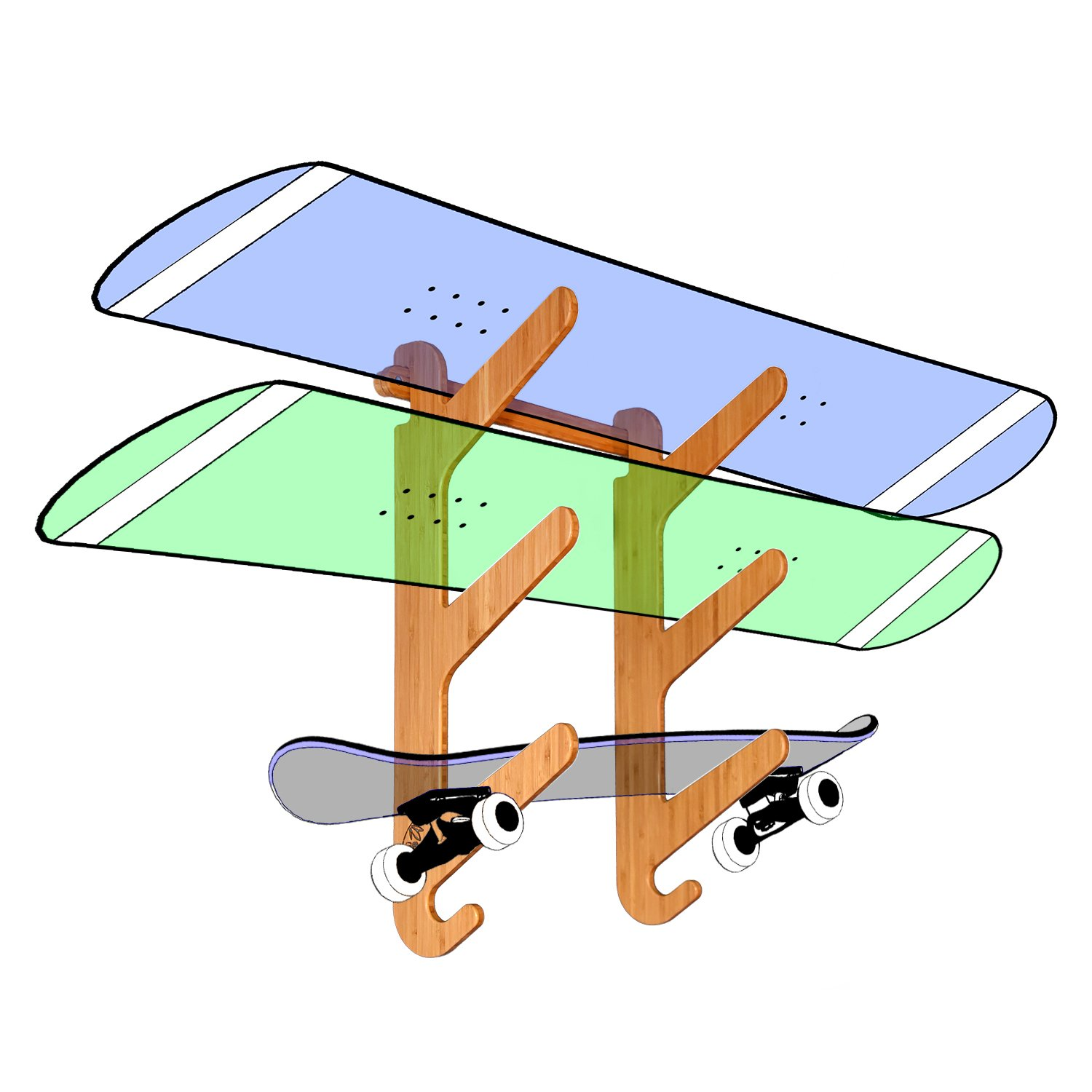 Bamboo Snowboard Wall Mount for 3 Snowboards or Longboards - Grassracks Moloka'i Trip by Grassracks