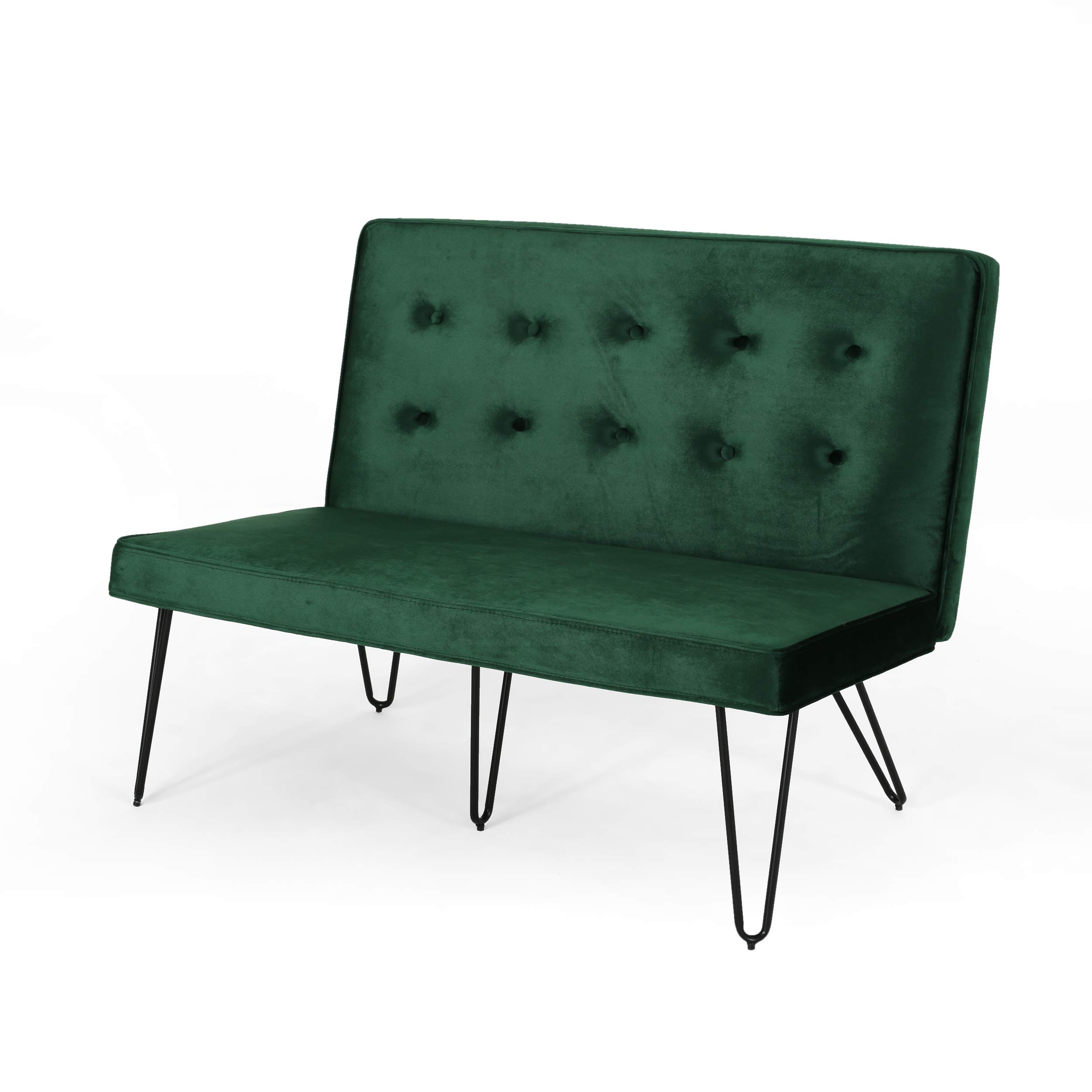 Beatrice Minimalist Dining Bench Settee with Tufted Velvet Cushion and Iron Legs - Emerald and Black by Great Deal Furniture (Image #3)