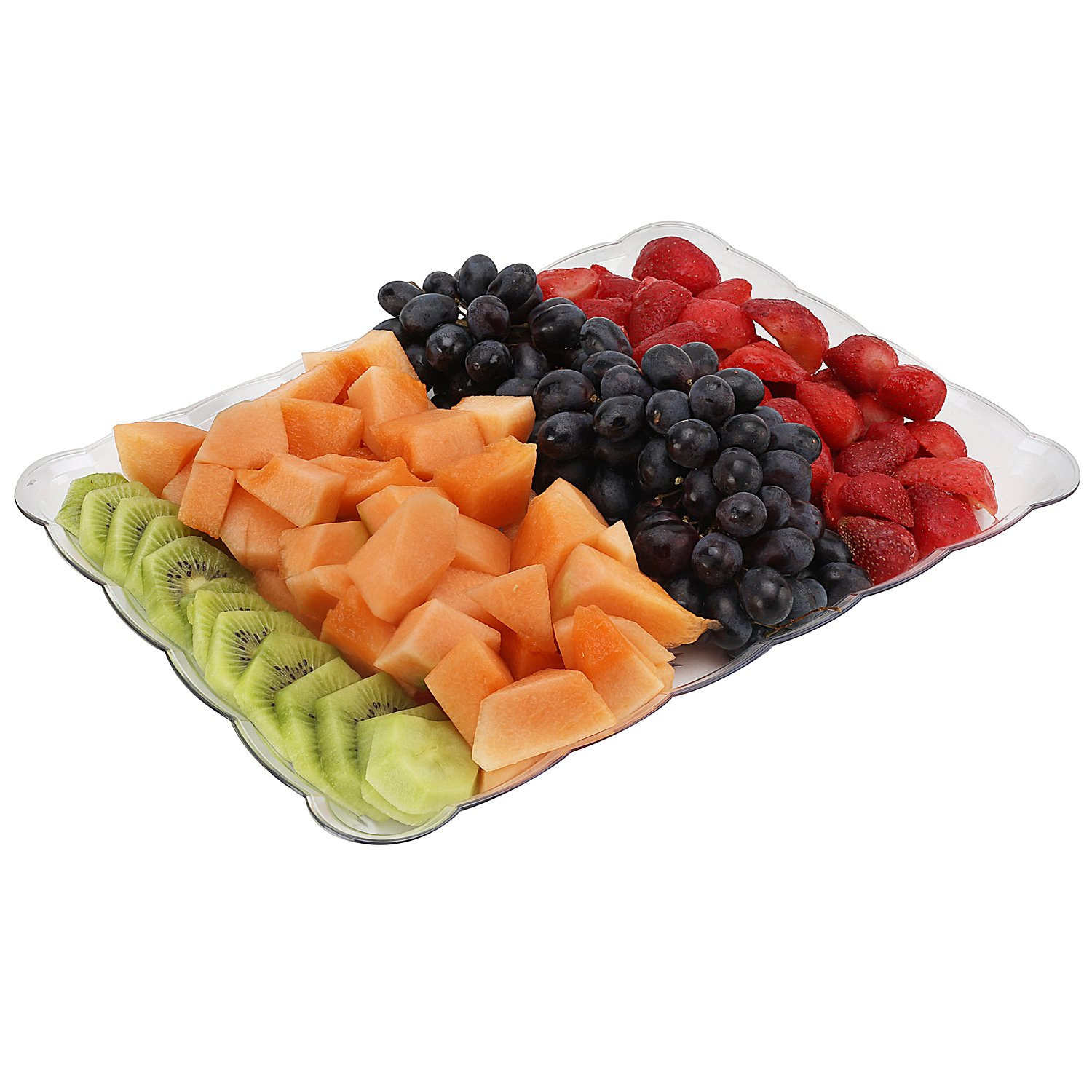 silver collection Rectangular Crystal clear Plastic Trays, disposable serving Party Platters 9
