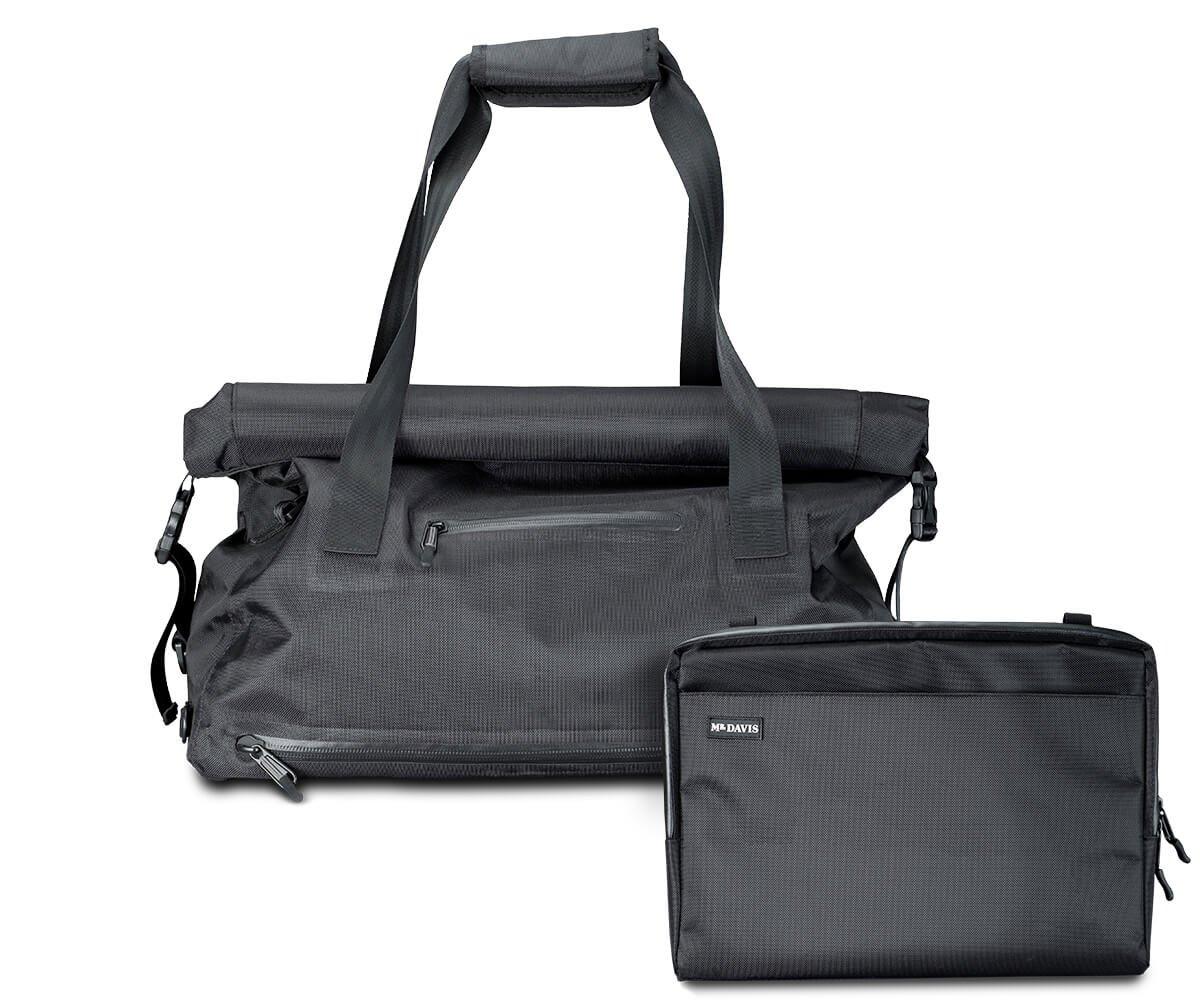 Mr. Davis Roll Top Waterproof Weekender Travel Bag Duffel with 13'' laptop sleeve