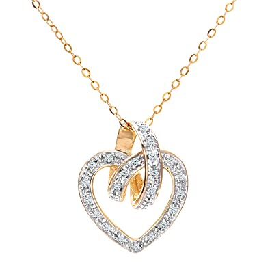 Naava Women's Diamond 9 ct Yellow Gold Heart Pendant and 46 cm Chain Necklace m2i66yYA7
