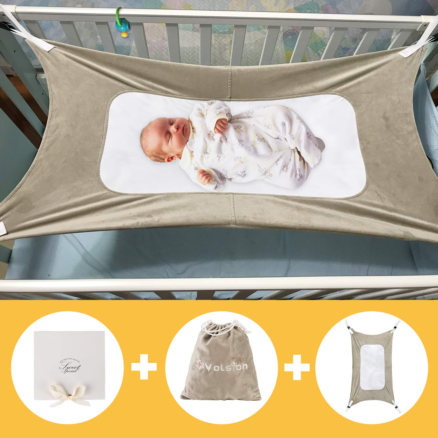 Upgraded Safety Measures Infant Nursery Bed with Portable Gift Box for Newborn Baby Shower Gift Mimics Womb Three-Layer Breathable Supportive Mesh Baby Hammock for Crib Bassinet Hammock Bed