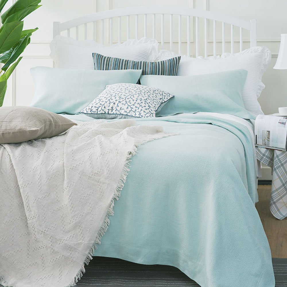 Oasis 100% Hemp Sheet Pillowcase Sets Old Coarse Cloth Sheets Pack Of 2, Summer Sleeping Mat Sheets Sets (7458)-Bean Green 47.2 x 78.7 Inch