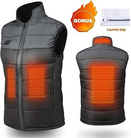Men/'s Chauffé gilet léger électrique Gilet Veste Avec Batterie pack for Outdoors