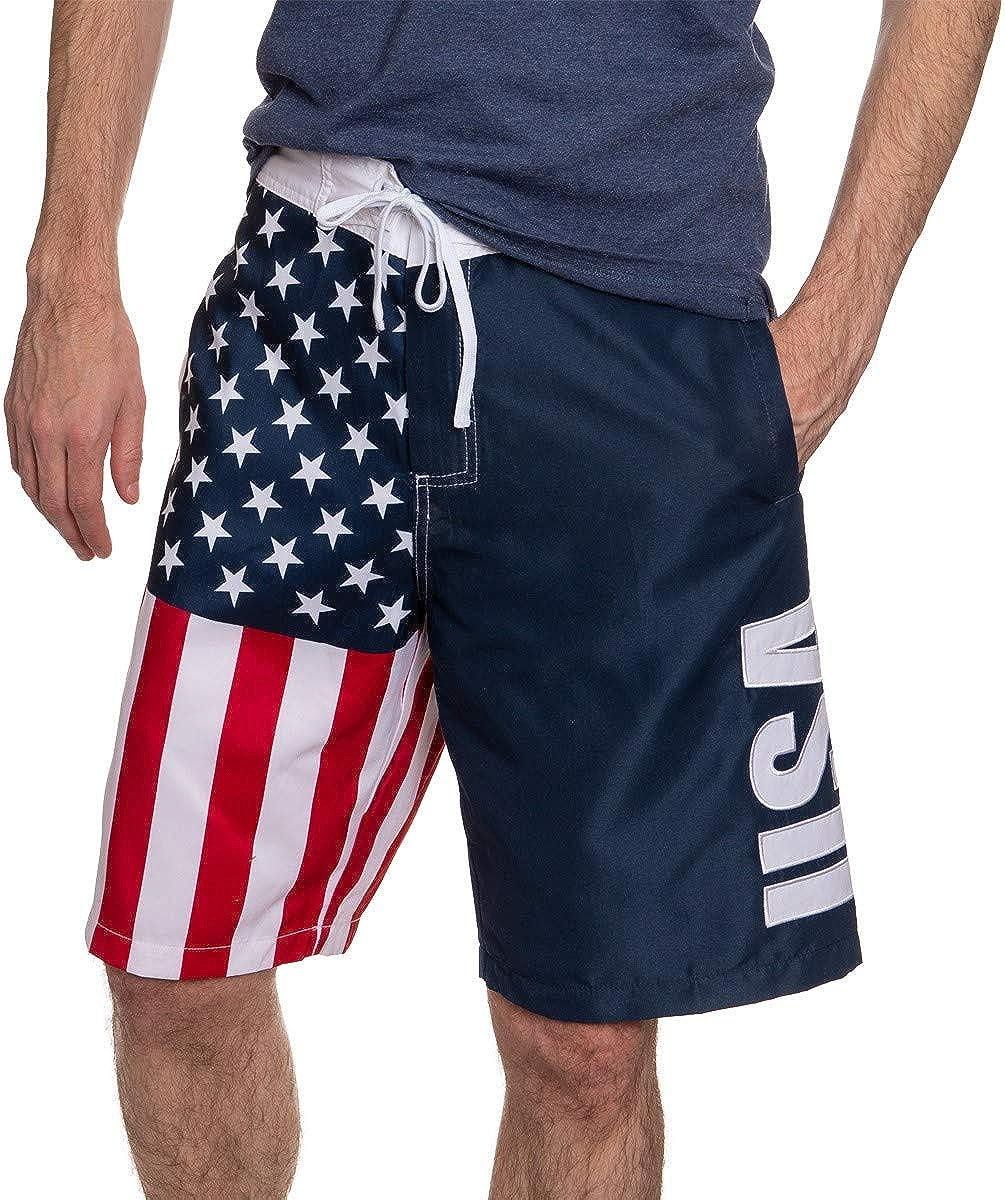 Calhoun Mens Americana USA Flag Fourth of July Swim Board Shorts