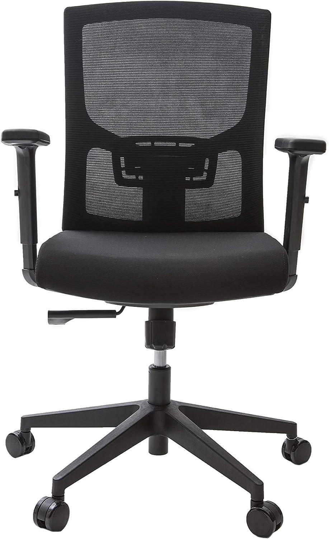 Alcapala Modelo Madrid - Silla de Oficina con apoyabrazos Regulables, Altura y reclinación Ajustables, Soporte para la Espalda y Ruedas 360º, Color Negro