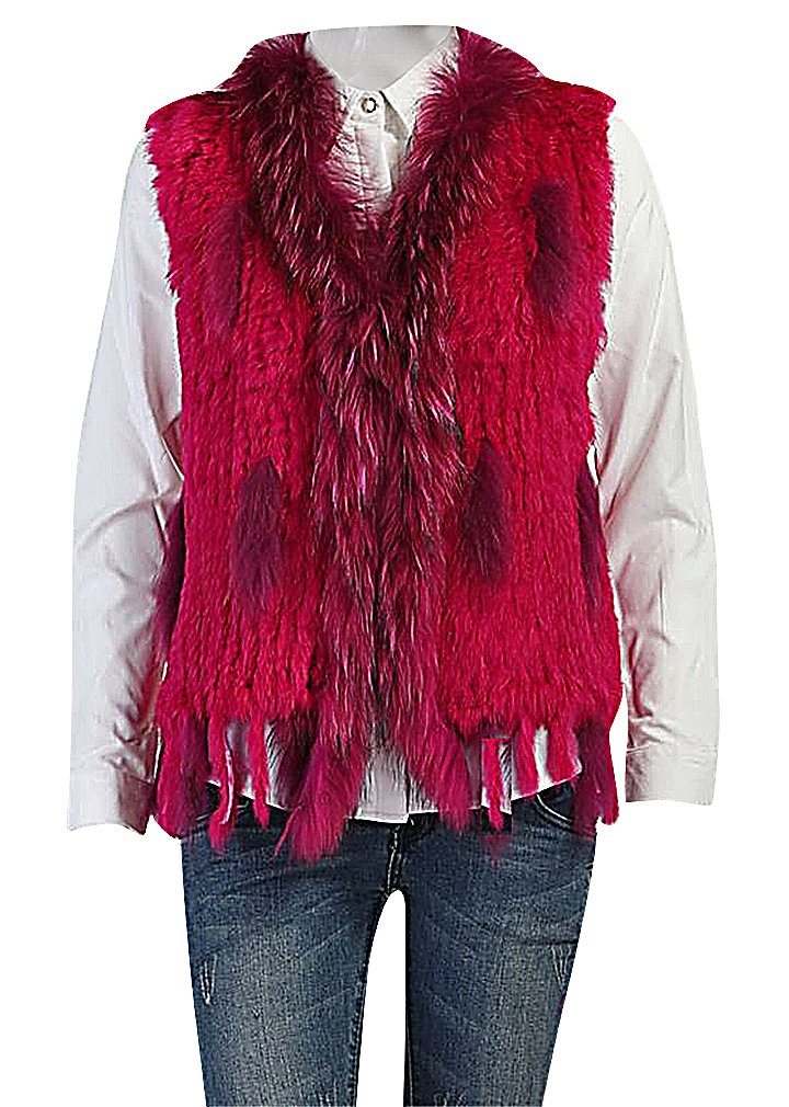 Maze, Women's Eclectic Faux Fur Segments Relaxed Fit Caveman Style Vest Jacket, RoseRed XL ,Manufacturer(XXL)