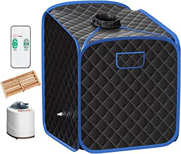 Giantex Portable Steam Sauna Spa 2L Folding Private Sauna Tent W/Chair Foot Massage Roller Absorbent Pad and 9 Adjustable Temperature Levels Spa Tent for Weight Loss Stress Fatigue (Black)
