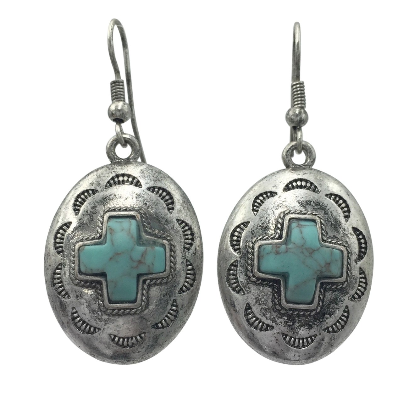 Western Style Imitation Turquoise Silver Tone Dangle Earrings (Oval Squared Cross)