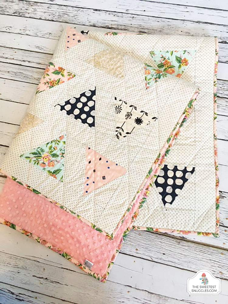 Image of Home and Kitchen Modern Triangle Baby Girl Quilt