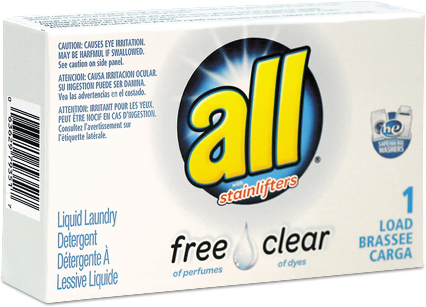 All Free Clear HE Liquid Laundry Detergent, Unscented, 1. 6 oz Vend-Box, 100/Carton