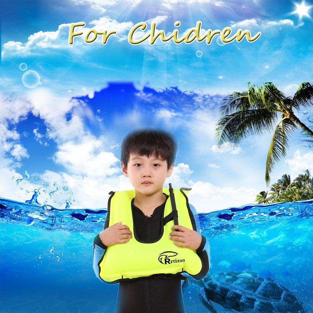 Rrtizan Children Portable Inflatable Canvas Life Jacket Snorkel Vest