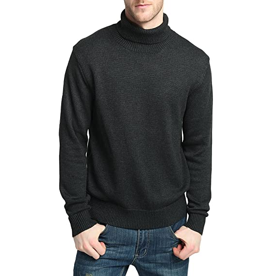 f542e105b Kallspin CHAUDER Men's Relaxed Fit Roll Neck Knitted Neck Jumper Merino  Wool Blend (Charcoal,