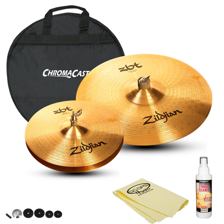 Zildjian ZBT Hats & Ride Set: ZBT 18'' Crash Ride (ZBT18CR), ZBT 13'' HiHats (ZBT13HP), Cymbal Cleaner, Cymbal Bag and Polish Cloth by GoDpsMusic