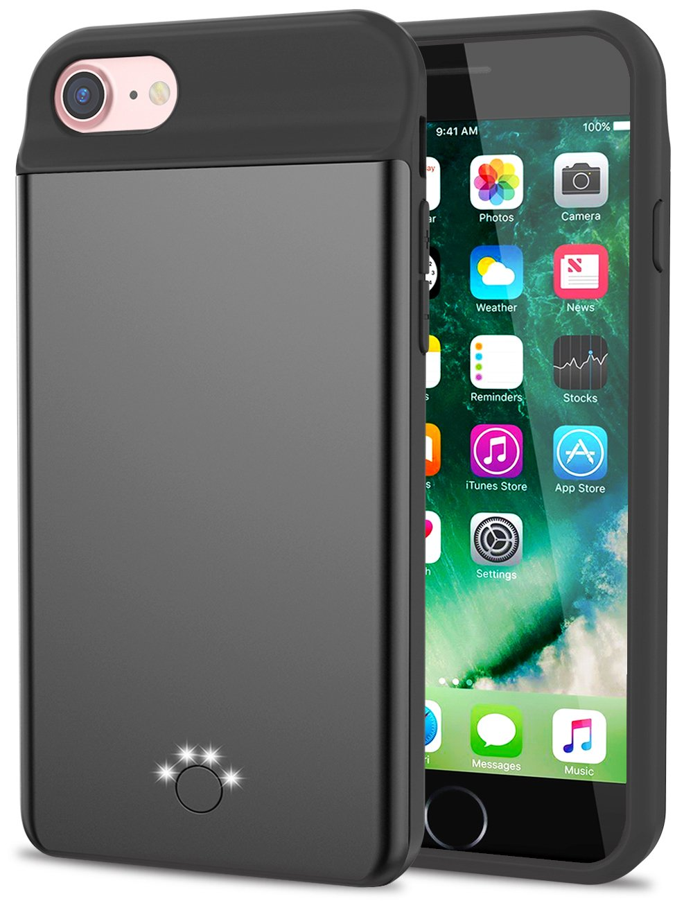 Smpoe [5500mAh] iPhone 8/7 Battery Case, High Capacity Battery Pack Charger Case for 7, Extended Portable Battery Charging Case for iPhone 8 7 6 6S (4.7 inch)/Extra 200% Battery (Black)